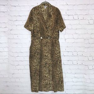 Vintage Leopard Print Maxi Dress Silk Faux Wrap